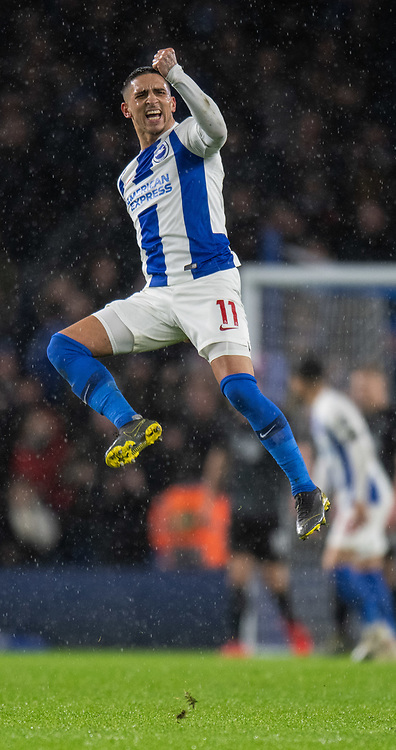 Brighton &amp; Hove Albion's Anthony Knockaert celebrates as Brighton &amp; Hove Albion finally score with a goal from Brighton &amp; Hove Albion's Shane Duffy<br /> <br /> Photographer David Horton/CameraSport<br /> <br /> The Premier League - Brighton and Hove Albion v Burnley - Saturday 9th February 2019 - The Amex Stadium - Brighton<br /> <br /> World Copyright &copy; 2019 CameraSport. All rights reserved. 43 Linden Ave. Countesthorpe. Leicester. England. LE8 5PG - Tel: +44 (0) 116 277 4147 - admin@camerasport.com - www.camerasport.com