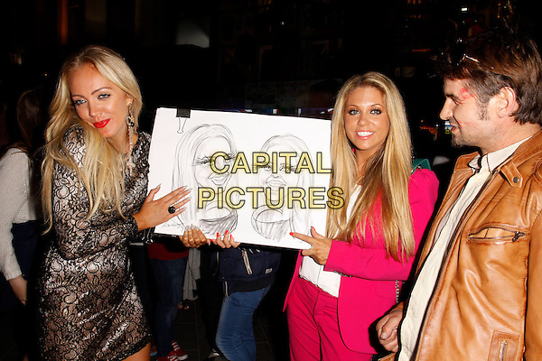 Aisleyne Horgan-Wallace and Bianca Gascoigne<br /> The Bloggers Love Collection fashion show, The Penthouse, London, England. August 22nd, 2013<br /> half length pink suit blazer white top lace dress caricature sketch drawing  black<br /> CAP/AH<br /> &copy;Adam Houghton/Capital Pictures