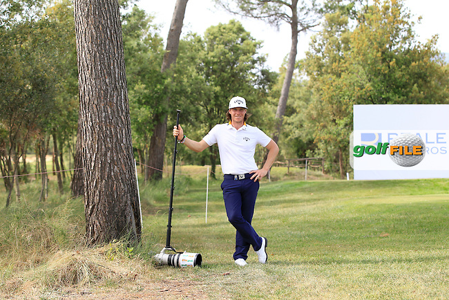 Kristoffer Broberg (SWE) on the 18th tee testing the weight of the &quot;Golffile&quot; camera during the Pro-Am of the Open de Espana  in Club de Golf el Prat, Barcelona on Wednesday 13th May 2015.<br /> Picture:  Thos Caffrey / www.golffile.ie