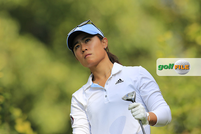 Danielle Kang (USA) tees off the 3rd tee during Friday's Round 2 of the LPGA 2015 Evian Championship, held at the Evian Resort Golf Club, Evian les Bains, France. 11th September 2015.<br /> Picture Eoin Clarke | Golffile
