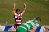 Gary Safoloi celebrates at the final whistle. Air New Zealand Cup rugby game between the Counties Manukau Steelers & Manawatu Turbos, played at Growers Stadium Pukekohe on Staurday September 20th 2008..Counties Manukau won 27 - 14 after trailing 14 - 7 at halftime.