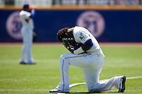 7 March 2009: #2 Hanley Ramirez of the Dominican Republic is seen praying prior to a game during the 2009 World Baseball Classic Pool D match at Hiram Bithorn Stadium in San Juan, Puerto Rico. Netherlands pulled off a huge upset in their World Baseball Classic opener with a 3-2 victory over Dominican Republic.