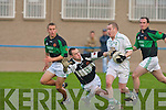 Churchill's Brian Daly (goalkeeper) and No.3 Garry Rolls and No.2 Peader Stack and Listry's Mike Tangney..   Copyright Kerry's Eye 2008