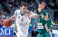 Real Madrid's Rudy Fernandez (l) and Zalgiris Kaunas' Marko Popovic during Euroleague 2012/2013 match.January 11,2013. (ALTERPHOTOS/Acero) /NortePhoto