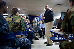 Vice Admiral Adam M. Robinson, the U.S. Navy Surgeon General, talks to sailors on board the USNS Comfort, a naval hospital ship, before their mission to help survivors of the earthquake in Haiti on Friday, January 15, 2010 in Baltimore, MD.