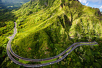 An aerial view of the Pali Highway and Ko'olau Mountains, O'ahu.
