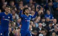 Willian of Chelsea celebrates his goal during the Carabao Cup round of 16 match between Chelsea and Everton at Stamford Bridge, London, England on 25 October 2017. Photo by Andy Rowland.