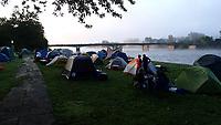 NWA Democrat-Gazette/FLIP PUTTHOFF <br /> Campers wake up to a river mist  July 30 2018 during a cool sunrise on the Des Moines River.