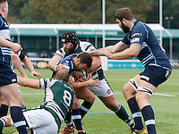 Ealing's Alexander Penney makes the tackle during the Greene King IPA Championship match between Ealing Trailfinders and Bedford Blues at Castle Bar , West Ealing , England  on 29 October 2016. Photo by Carlton Myrie / PRiME Media