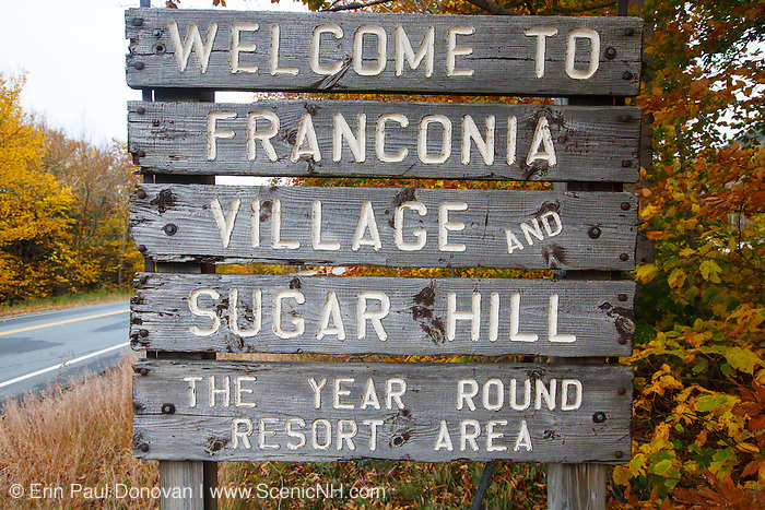 Welcome To Franconia Village in along Route 18 in Franconia, New Hampshire USA.