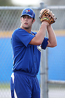 Toronto Blue Jays pitcher Daniel Norris #31 throws in the bullpen during minor league practice at the Englebert Minor League Complex on February 27, 2012 in Dunedin, Florida.  (Mike Janes/Four Seam Images)