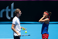 8th November 2019; RAC Arena, Perth, Western Australia, Australia; Fed Cup by BNP Paribas Final Tennis, Australia versus France, Practice Day; Julien Benneteau Captain of France talks with Caroline Garcia during practise - Editorial Use