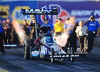 Feb. 17 2012; Chandler, AZ, USA; NHRA top fuel dragster driver Brandon Bernstein during qualifying for the Arizona Nationals at Firebird International Raceway. Mandatory Credit: Mark J. Rebilas-