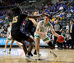 SIOUX FALLS, SD - MARCH 8: Filip Rebraca #12 of the North Dakota Fighting Hawks drives baseline against the PFW Mastodons at the 2020 Summit League Basketball Championship in Sioux Falls, SD. (Photo by Dave Eggen/Inertia)