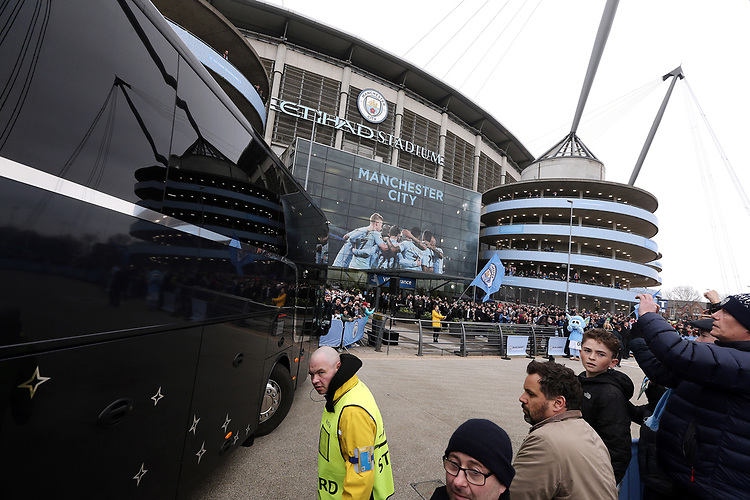 The Manchester City team coach arrives at The Etihad stadium, home of Manchester City<br /> <br /> Photographer Rich Linley/CameraSport<br /> <br /> UEFA Champions League Quarter-Final Second Leg - Manchester City v Liverpool - Tuesday 10th April 2018 - The Etihad - Manchester<br />  <br /> World Copyright &copy; 2017 CameraSport. All rights reserved. 43 Linden Ave. Countesthorpe. Leicester. England. LE8 5PG - Tel: +44 (0) 116 277 4147 - admin@camerasport.com - www.camerasport.com