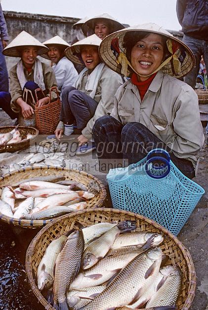 Asie/Vietnam/Hanoi/Vong Bi: le marché marchandes de poisson