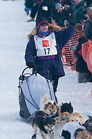 Musher # 17 Jessie Royer at the Restart of the 2009 Iditarod in Willow Alaska