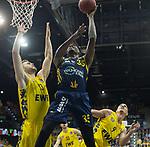 13.01.2019, EWE Arena, Oldenburg, GER, easy Credit-BBL, EWE Baskets Oldenburg vs Alba Berlin, im Bild<br /> am Ball.....<br /> Marko BACAK (EWE Baskets Oldenburg #13 ), Karsten TADDA (EWE Baskets Oldenburg #9 )<br /> Landry Nnoko (Alba Berlin #35 )<br /> Foto © nordphoto / Rojahn