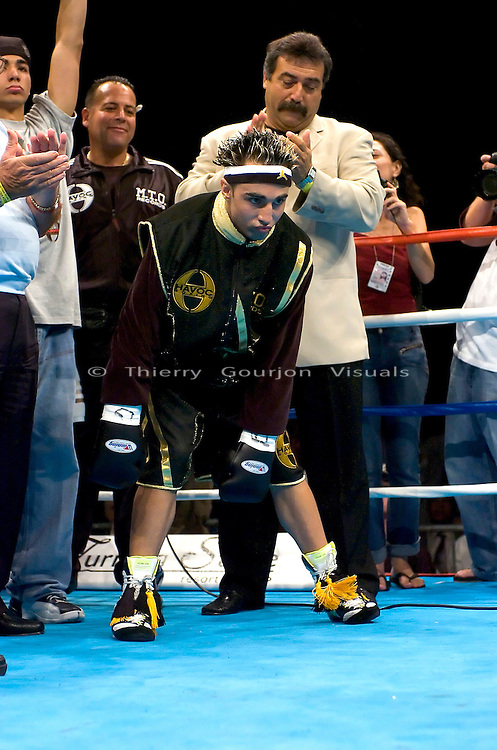 Paulie Malignaggi  in the ring before his  8 Rounds Jr. Welterweight fight against Jeremy Yelton at the Hammerstein Ballroom in New York, NY on 08.25.05.  Malignaggi won by Unanimous decision.