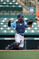 Tampa Bay Rays catcher Chris Betts (26) throws the ball back to the pitcher during an Instructional League game against the Baltimore Orioles on October 2, 2017 at Ed Smith Stadium in Sarasota, Florida.  (Mike Janes/Four Seam Images)