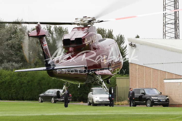 Prince Andrew Departs by using the Queens Helicopter G-XXEB after an engagement in the local area. <br /> <br /> Tuesday 20th September 2016