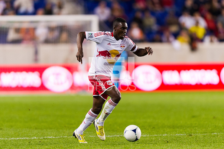 Lloyd Sam (10) of the New York Red Bulls. The New York Red Bulls and Sporting Kansas City played to a 0-0 tie during a Major League Soccer (MLS) match at Red Bull Arena in Harrison, NJ, on October 20, 2012.