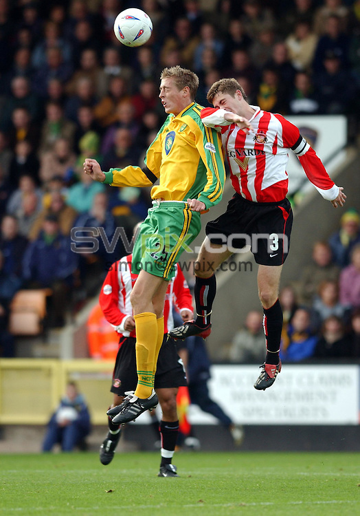 Pix: Dan Hambury/SWpix. Nationwide League Division One..Norwich City v Sunderland, 25/10/2003..COPYRIGHT PICTURE>>SIMON WILKINSON>>01943 - 436649>>..Norwich City's Peter Crouch and Sunderland's George McCartney