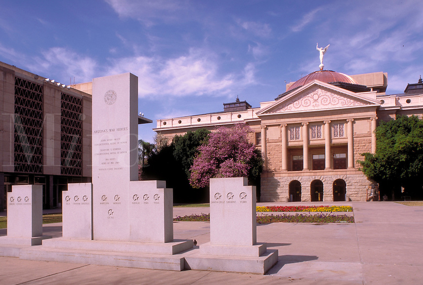 Arizona War Heroes Monument and Arizona State Capitol Museum. Opened in 1900, the building served as the territorial capitol until 1912 when Arizona became a state. it served as the state capitol until 1974 when a new structure behind this building was op
