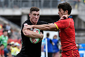 2nd February 2019, Spotless Stadium, Sydney, Australia; HSBC Sydney Rugby Sevens; New Zealand versus Spain; Sam Dickson of New Zealand fends off Javier De Juan of Spain on his way to scoring