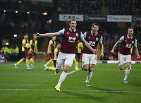 Burnley's Chris Wood celebrates scoring his side's first goal <br /> <br /> Photographer Rob Newell/CameraSport<br /> <br /> The Premier League - Watford v Burnley - Saturday 23rd November 2019 - Vicarage Road - Watford <br /> <br /> World Copyright © 2019 CameraSport. All rights reserved. 43 Linden Ave. Countesthorpe. Leicester. England. LE8 5PG - Tel: +44 (0) 116 277 4147 - admin@camerasport.com - www.camerasport.com