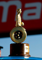 Sept. 6, 2010; Clermont, IN, USA; Detailed view of the Wally trophy of NHRA pro stock driver Greg Stanfield after winning the U.S. Nationals at O'Reilly Raceway Park at Indianapolis. Mandatory Credit: Mark J. Rebilas-
