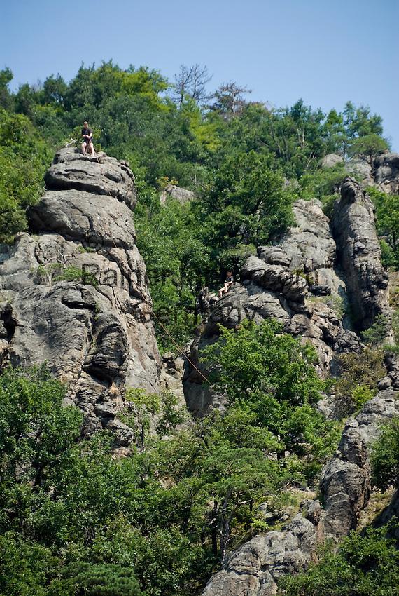Austria, Lower Austria, UNESCO World Heritage Wachau, climbing at Duernstein Crag