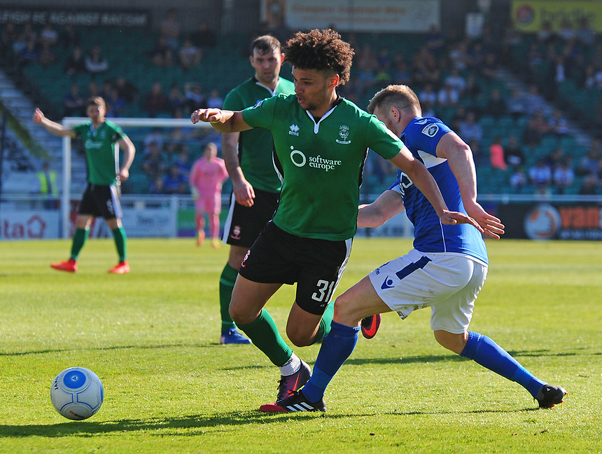 Li31` is fouled by Eastleigh's Sam Togwell<br /> <br /> Photographer Andrew Vaughan/CameraSport<br /> <br /> Vanarama National League - Eastleigh v Lincoln City - Saturday 8th April 2017 - Silverlake Stadium - Eastleigh<br /> <br /> World Copyright &copy; 2017 CameraSport. All rights reserved. 43 Linden Ave. Countesthorpe. Leicester. England. LE8 5PG - Tel: +44 (0) 116 277 4147 - admin@camerasport.com - www.camerasport.com