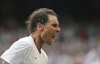 Rafael Nadal (ESP) celebrates after winning his match against Nick Kyrgios (AUS) in their Gentleman's Singles Second Round match<br /> <br /> <br /> Photographer Rob Newell/CameraSport<br /> <br /> Wimbledon Lawn Tennis Championships - Day 4 - Thursday 4th July 2019 -  All England Lawn Tennis and Croquet Club - Wimbledon - London - England<br /> <br /> World Copyright © 2019 CameraSport. All rights reserved. 43 Linden Ave. Countesthorpe. Leicester. England. LE8 5PG - Tel: +44 (0) 116 277 4147 - admin@camerasport.com - www.camerasport.com