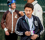 LOUISVILLE, KENTUCKY - MAY 01: Trainer Koichi Tsunoda before Master Fencer breezed four furlongs in preparation for the Kentucky Derby at Churchill Downs in Louisville, Kentucky on May 1, 2019. Scott Serio/Eclipse Sportswire/CSM
