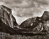 USA, California, Yosemite National Park, Yosemite Valley landscape, Yosemite Falls and El Capitan (B&W)