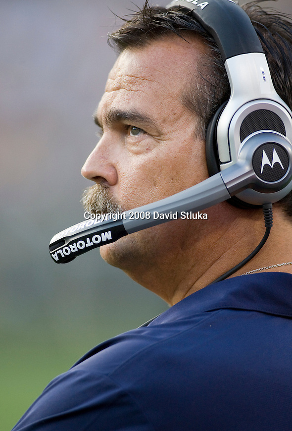 GREEN BAY, WI - AUGUST 28: Head coach Jeff Fisher of the Tennessee Titans looks on during the preseason game against the Green Bay Packers at Lambeau Field on August 28, 2008 in Green Bay, Wisconsin. The Titans beat the Packers 23-21. (Photo by David Stluka)