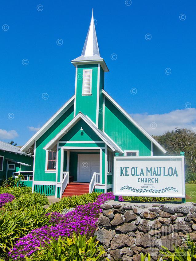 The picturesque Ke Ola Mau Loa Hawaiian church in Kamuela, Waimea, Big Island.