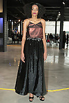 Laureen (Marilyn Agency) poses in an outfit from the Saunder Fall Winter 2016 collection by Emily Saunders during New York Fashion Week Fall 2016.