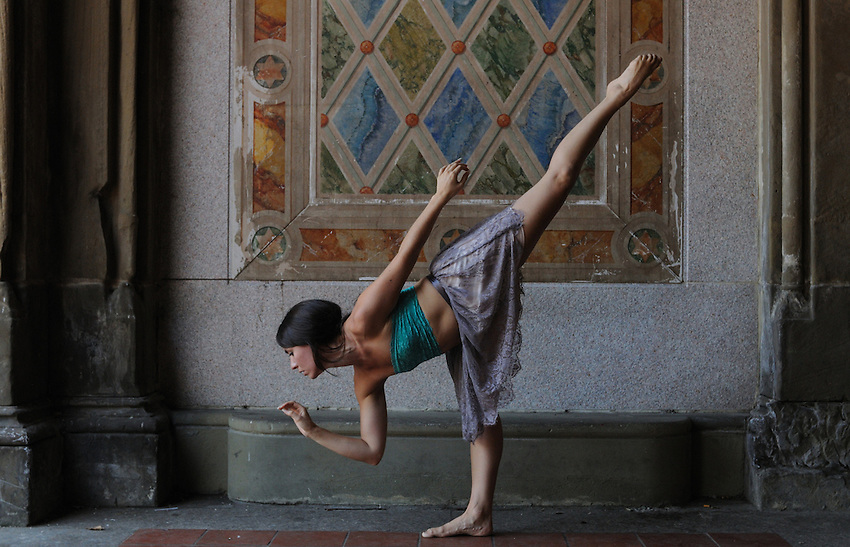 Gregory Holmgren, Dance, movement project, model, dancer, Amy Merli at Bethesda Terrace, Central Park, New York, New York, September 14, 2012