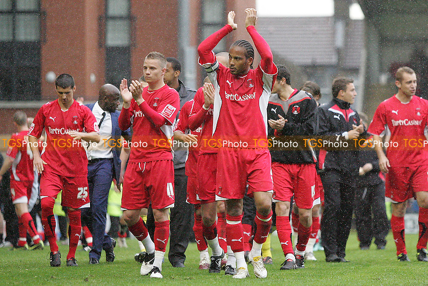 Orient players applaud fans at the end of final home game of the season- Leyton Orient vs Wycombe Wanderers - Coca Cola League One Football at Brisbane Road, Leyton, London - 01/05/10 - MANDATORY CREDIT: George Phillipou/TGSPHOTO - Self billing applies where appropriate - 0845 094 6026 - contact@tgsphoto.co.uk - NO UNPAID USE..
