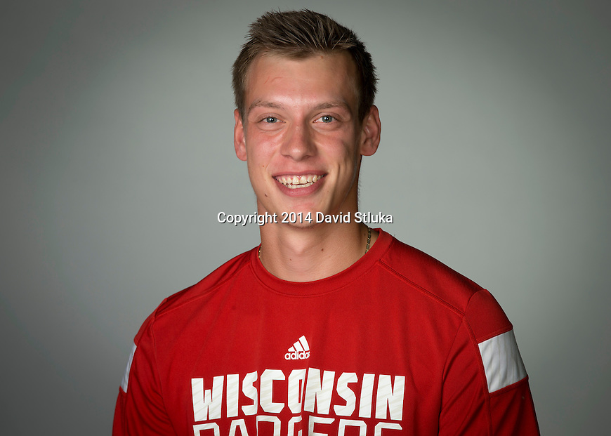Wisconsin Badgers men's tennis player Alexander Kokorev. (Photo by David Stluka)