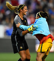 Seattle, WA - Thursday July 27, 2017: Lydia Williams and Lisa De Vanna celebrate their 1-0 win over USA during a 2017 Tournament of Nations match between the women's national teams of the United States (USA) and Australia (AUS) at CenturyLink Field.