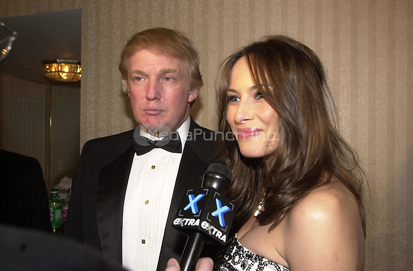 Donald Trump and Melania Knauss are interviewed prior to the White House Correspondents Association Dinner at the Washington Hilton Hotel in Washington, D.C., April 28, 2001.<br /> Credit: Ron Sachs/CNP/MediaPunch