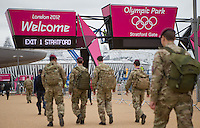 18.07.2012. London, England.  British Soldiers walking towards the Olympic park in London, Great Britain, 18 July 2012. The London 2012 Olympic Games will start on 27 July 2012.