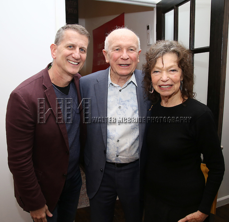 Tom Kirdahy, Terrence McNally and Gretchen Cryer during The DGF's 14th Biannual Madge Evans & Sidney Kingsley Awards at the Dramatists Guild Fund headquarters on April 4, 2016 in New York City.