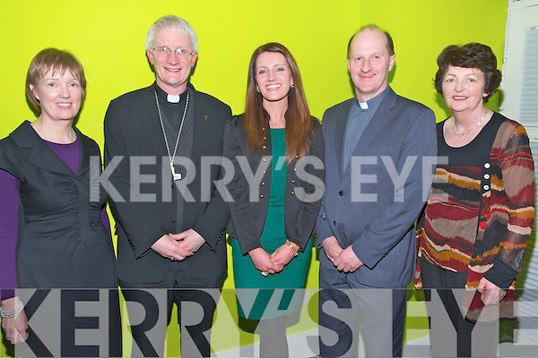 L-R Mary Mc Carthy, Bishop Ray Browne, Martina Sheehan, Fr Padraig Walsh and Margaret Culloty at the Youth Ministry Awards in the KDYS centre, Killarney last Thursday night.