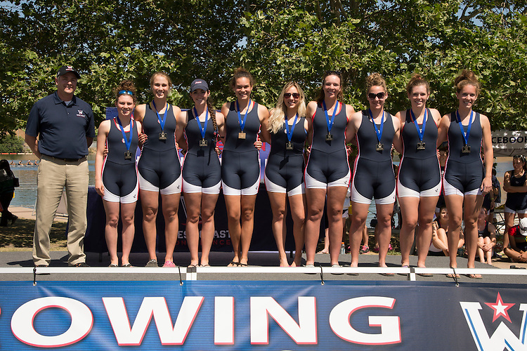 May 18, 2013; Gold River, CA, USA; Gonzaga Bulldogs first place Second Varsity Eight (II Eight) (not in order) cox: Jordan Schroeder; Sarah Atkins; Lily Rorick; Erin Russell; Natalie Potts; Renee Wyman; Jordan Davies; Christy Mentele; Becca Benoit and WCC commissioner Jamie Zaninovich during the WCC Rowing Championships at Sacramento State Aquatic Center.