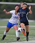 Columbia's Alexa Hildebrand (right) battles with St. Teresa's Ryenne Wagner in the Class 1A girls soccer supersectional game played at Columbia High School in Columbia, IL on Tuesday May 21, 2019.<br /> Tim Vizer/Special to STLhighschoolsports.com