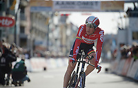 Lars Bak (DEN/Lotto-Soudal) finishing his TT<br /> <br /> 3 Days of De Panne 2015<br /> stage 3b: De Panne-De Panne TT